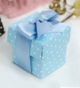 Коробочки для подарков Голубая в горошек